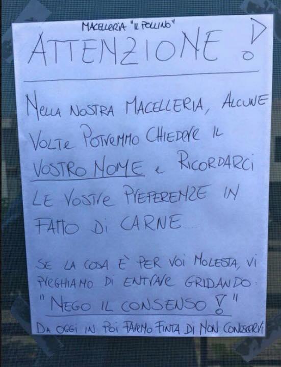 Foto cartello affisso alla porta del macellaio - Cartelli divertenti bagno ...