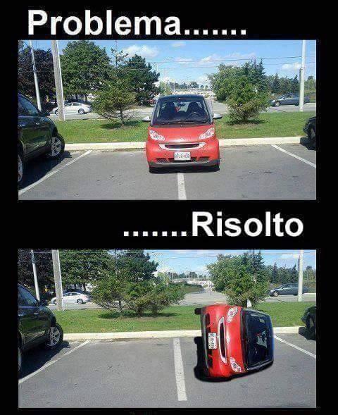 Barzellette.net Foto: Smart parcheggiata tra due stalli...e viene capo...