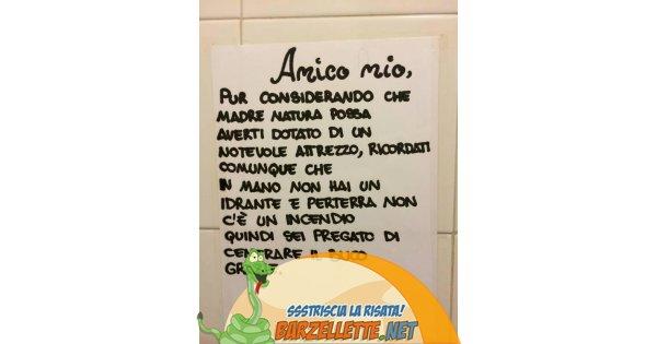Barzellette.net Foto: Cartello nel bagno degli uomini...