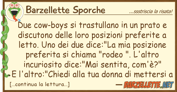 Barzellette Sporche due cow-boys trastullano prato