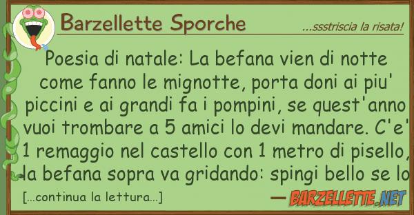 Barzellette Sporche poesia natale: befana vien nott