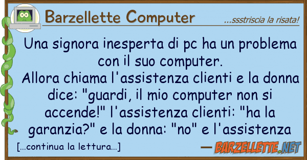 Barzellette Computer signora inesperta pc ha proble