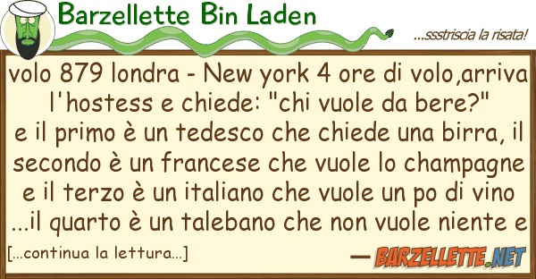Barzellette Bin Laden volo 879 londra - new york 4 ore volo