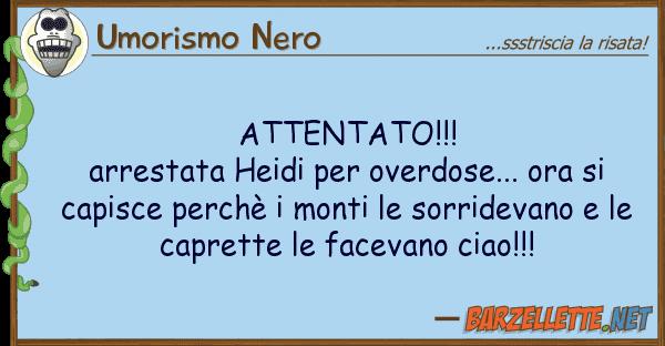 Umorismo Nero attentato!!! arrestata heidi overdo