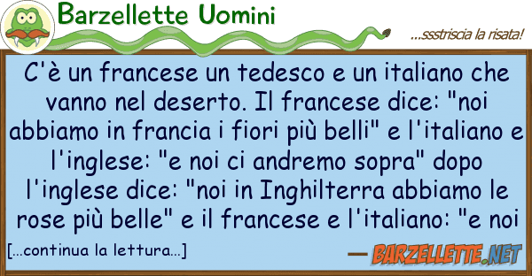 Barzelletta Cè Un Francese Un Tedesco E Un Italiano Che Vanno