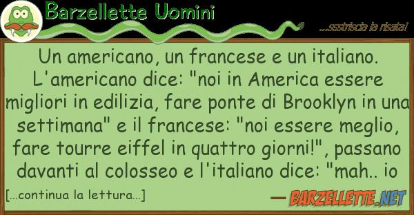 Barzellette Uomini americano, francese italiano.