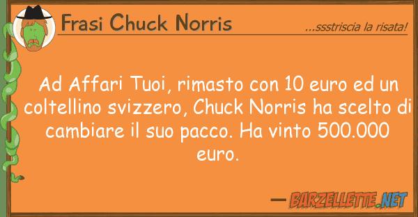 Frasi Chuck Norris affari tuoi, rimasto 10 euro u