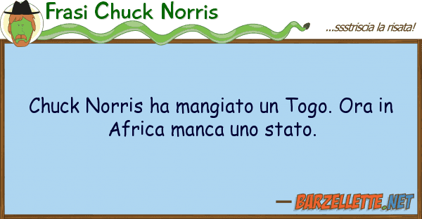 Frasi Chuck Norris chuck norris ha mangiato togo. ora