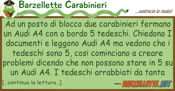 Barzellette Carabinieri posto blocco due carabinieri fe