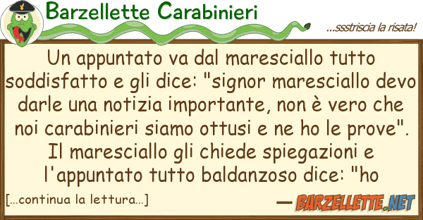 Barzellette Carabinieri appuntato va maresciallo so