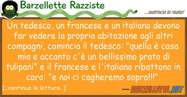 Barzellette Razziste tedesco, francese italiano de