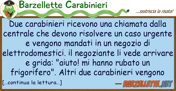 Barzellette Carabinieri due carabinieri ricevono chiamata