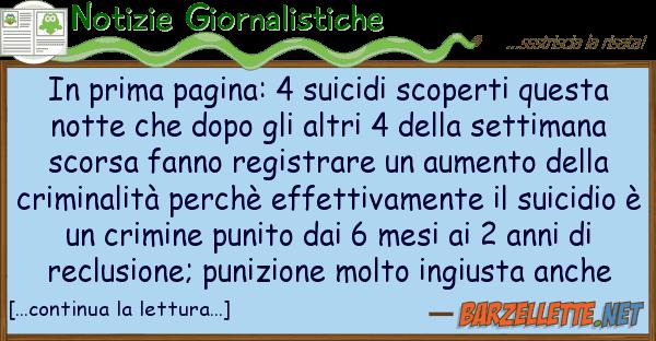 Notizie Giornalistiche prima pagina: 4 suicidi scoperti ques