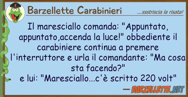 """Barzellette Carabinieri maresciallo comanda: """"appuntato, appu"""