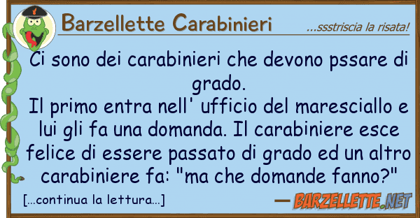 Barzellette Carabinieri sono carabinieri devono pssar