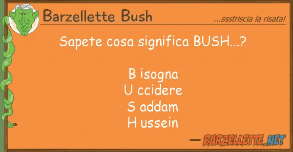 Barzellette Bush sapete cosa significa bush...? b isogn