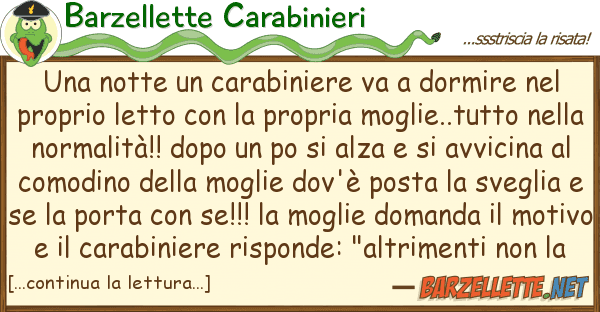 Barzellette Carabinieri notte carabiniere va dormire