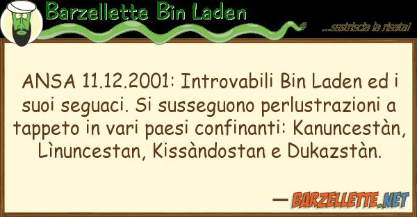 Barzellette Bin Laden ansa 11.12.2001: introvabili bin laden