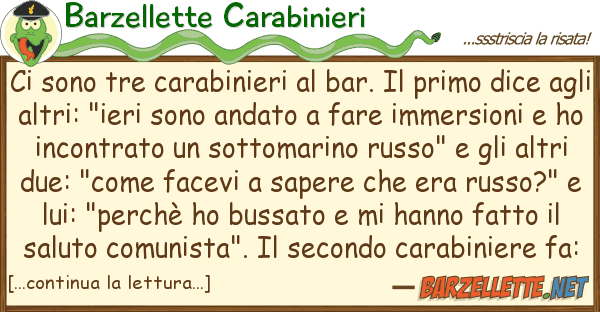 Barzellette Carabinieri sono tre carabinieri bar. primo