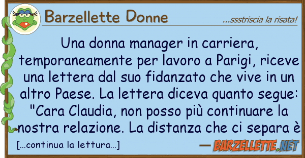 Célèbre Barzelletta: Una donna manager in carriera, temporaneamente per GE55