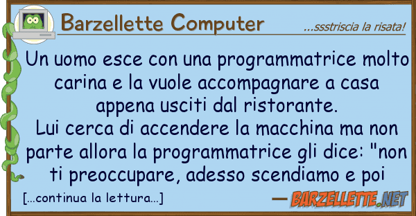 Barzellette Computer uomo esce programmatrice molt