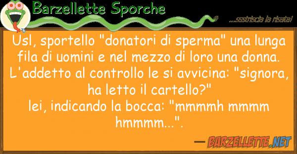 """Barzellette Sporche usl, sportello """"donatori sperma"""""""